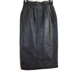 VTG Pelle Cuir Size 6 Leather High Waist Skirt
